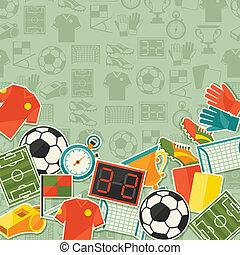 sport, háttér, noha, futball, (football), böllér, icons.