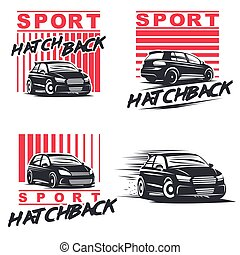 sport hacthback set - Set of four sport cars logo, badge...