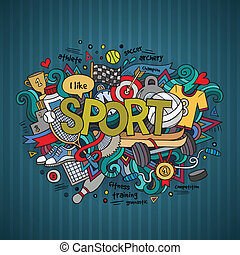 Sport hand lettering and doodles elements background. Vector...