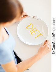 woman with plate and meds - sport, healthcare and diet ...