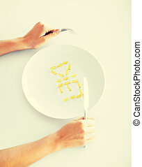woman with plate and meds