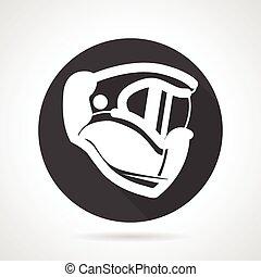 Sport helmet black round vector icon