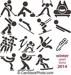 sport, hiver, icônes