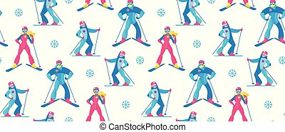 sport, hiver, pattern., seamless, snow., skieurs