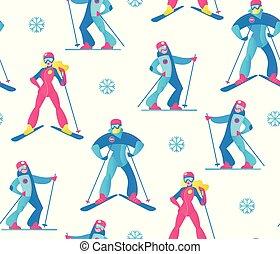sport hiver, seamless, pattern., skieurs, et, snow.