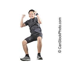 sport, homme, bonheur, émotion, sauter, et, flotter, mi air,...