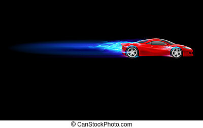 Sport Hot Car - Red Sport Car. Blue Burnout design....