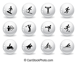 sport, icônes toile, jeux, boutons