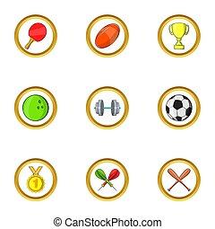 Sport icon set, cartoon style
