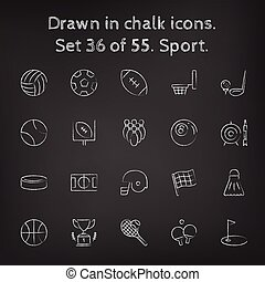 Sport icon set drawn in chalk.