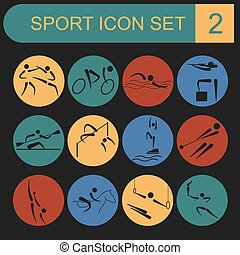 Sport icon set. Flat style. Vector