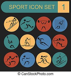 Sport icon set. Flat style. Vector
