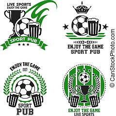 sport, icone, football, pub, vettore, calcio