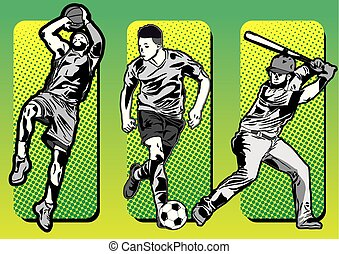 sport icons and baseball soccer basketball players silhouettes