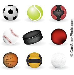 Sport icons, balls and puck on a white background, vector...