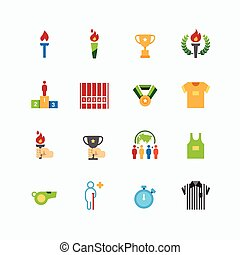 sport icons color flat line design vector