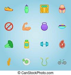 Sport icons set, cartoon style