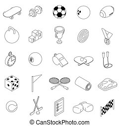 Sport icons set, isometric 3d style