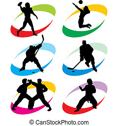 sport icons - set of vector silhouette icons of the sport...