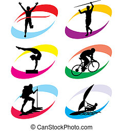sport icons - set of vector silhouette icons of the sport ...