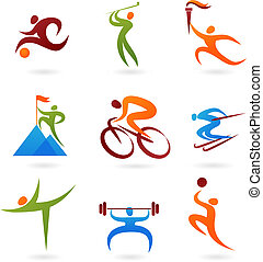 sport, ikon, samling, -4