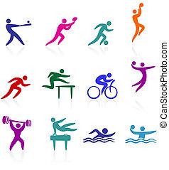 sport, ikon, samling
