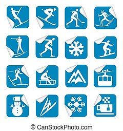 sport, ikony, zima, majchry
