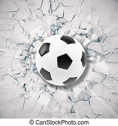 Sport illustration with soccer ball coming in cracked wall. Cracked concrete earth abstract background. 3d rendering