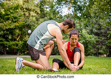Sport injury - helping hand - Sport injury - young fitness...