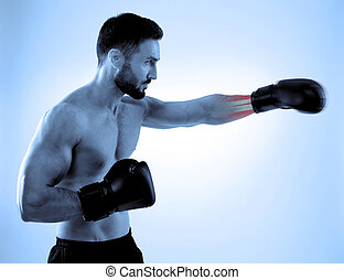 Sport injury - Man with box gloves and sore forearm