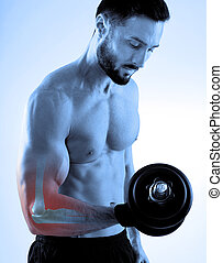 Sport injury - Man with dumbbells and sore elbow