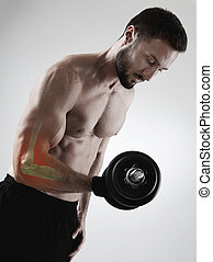Sport injury - Sportsman weightlifting with elbow injury