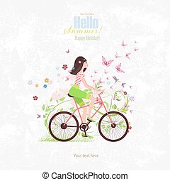 sport Invitation card with a pretty girl riding on bike on...