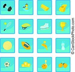 Sport items icon blue app