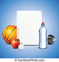 Sport items with blank paper