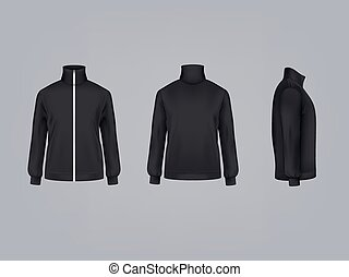 Sport jacket or long sleeve sweatshirt vector illustration 3D mockup model of sportswear apparel icon