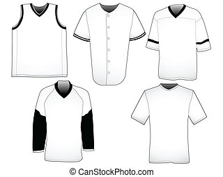 Sport jerseys templates - Set of five jerseys from different...
