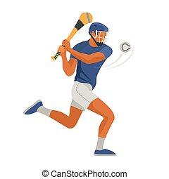 sport., jeu, joueur, gaélique, irlandais, hurley, vecteur, jeu