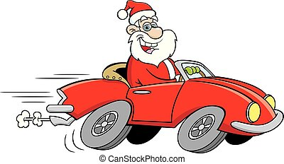 sport, karikatur, fahren, weihnachtsmann, auto.