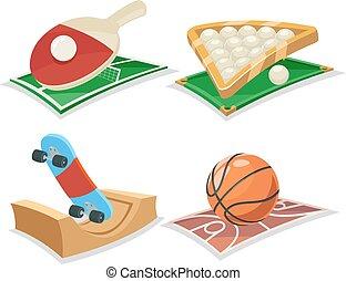 sport, karikatura, osamocený, ikona, dát, vektor, ilustrace