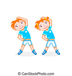 Sport kids - Cheerful boy and girl do stretching exercise