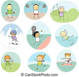sport kids doodle collection