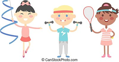 Sport kids vector illustration.