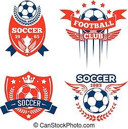 sport, klubba, fotbolllek, sätta, fotboll, emblem