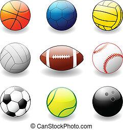 sport, kollektion, klumpa ihop sig