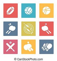 sport, komplet, barwny, ikony