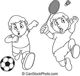 sport, komplet, rysunek