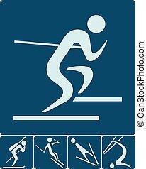 sport, komplet, zima, ikony