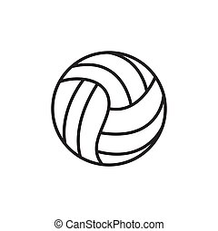 sport, kugel, equipment., vektor, icon., silhouette, hintergrund., weißes, volleyball, illustration.