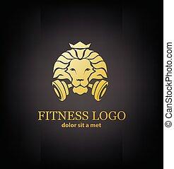 sport, løve, vektor, skabelon, duelighed, logo